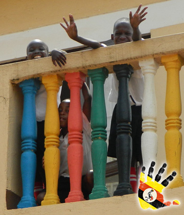 Children Waving From Balcony at the Divine Day Care in Kajjansi